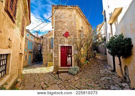 Stone Village Of Groznjan Narrow Street View, Istria Region Of Croatia