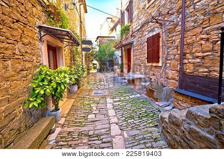 Groznjan Cobbled Street And Old Architecture View, Istria Region Of Croatia
