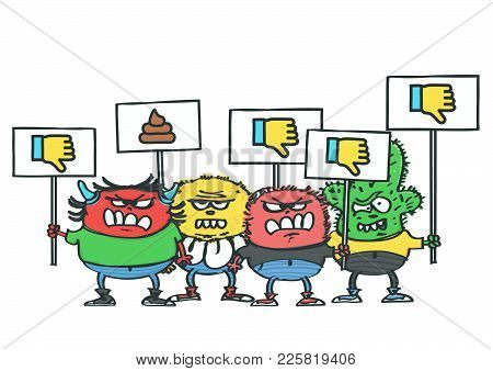 Group Of Four Funny Monsters With Dislike Protest Placards, Isolated Vector Cartoon Of Internet Hate