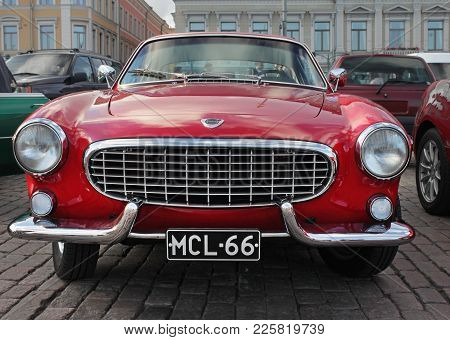 Helsinki, Finland - August 4, 2017: Old Red Car At Helsinki Cruising Night (retro Cars Show) On Kaup