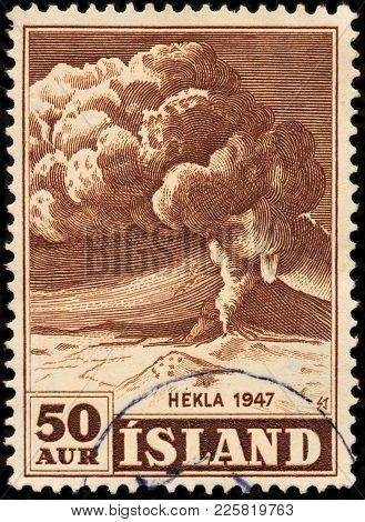 Eruption Of Mount Hekla Stamp