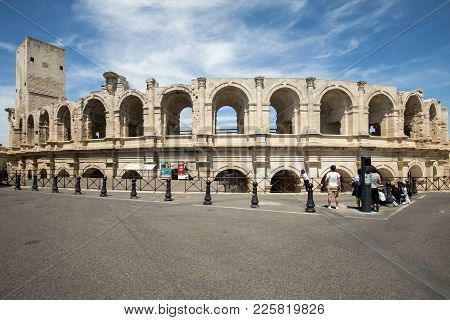 Arles, France - June 27, 2017: The Roman Amphitheater In The Old Town Of Arles In Provence In The So