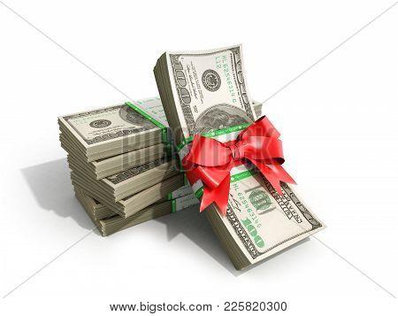Concept Of Money Deposite Bonus Stack Of Dollar Bills Cash With Red Bow 3d Render On White