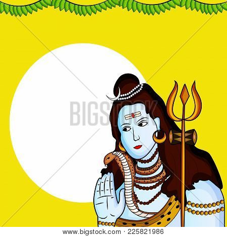 Illustration Of Hindu God Shiva With Decoration On The Occasion Of Hindu Festival Shivratri