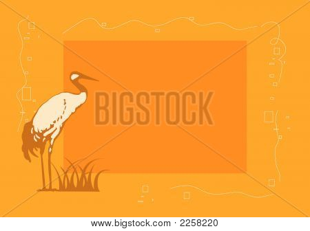 Framework for a photo in yellow tones with a stork poster