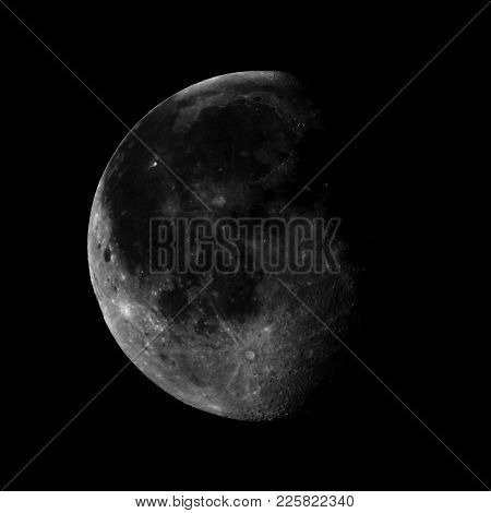 High Contrast Waning Gibbous Moon, Almost Full Moon, Seen With An Astronomical Telescope (photo Take