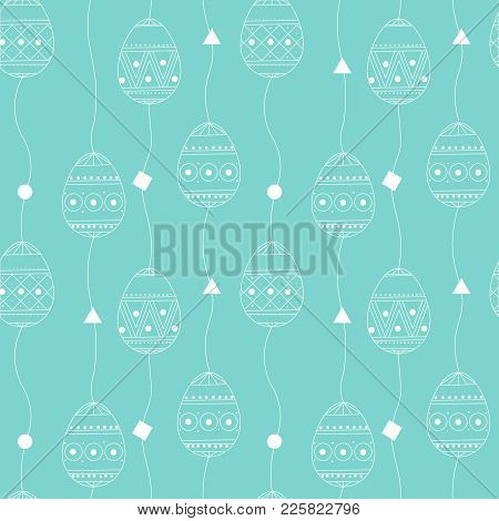 Vector Seamless Pattern With White Contour Eggs. Easter Holiday Background Eggs. Happy Easter Easter