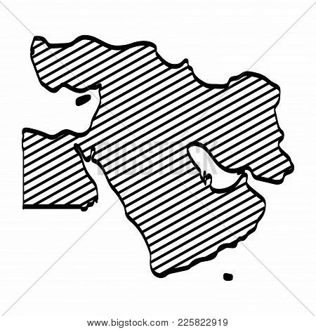 Middle East Map Outline Graphic Freehand Drawing On White Background. Vector Illustration.