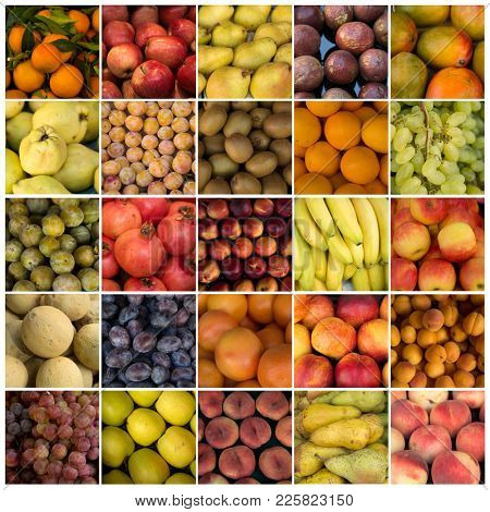 Collage of fruits like orange, pear, mango, kiwi, grape and apples