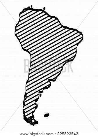 South America Map Outline Graphic Freehand Drawing On White Background. Vector Illustration.