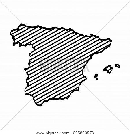 Map Of Spain Drawing.Spain Map Outline Vector Photo Free Trial Bigstock