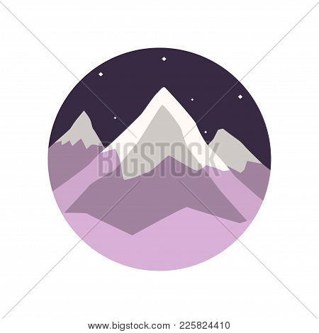Colored Illustration Of Winter Landscape With Snowy Mountain Peaks And Night Starry Sky. Round-shape