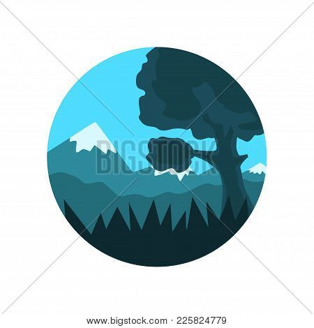 Geometric Round-shaped Emblem Of Landscape With Tree And Plants. Wild Nature. Blue Sky And Mountains