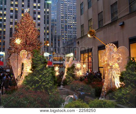A Holiday Light Display At Rockefeller Center