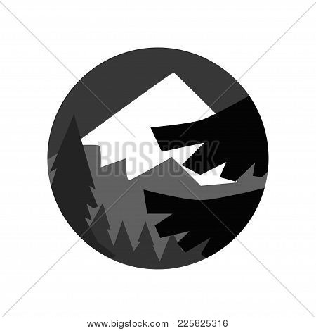 Night Landscape Of The Pine Forest And Mountain With Snowy Peak. Abstract Vector Natural Scene. Geom