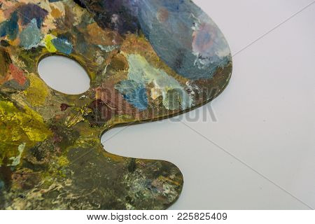 Palette With Oil Paint On White Background. Art, Painting, Painting