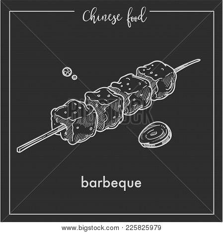 Chinese Food Barbecue Chalk Sketch Icon For China Cuisine Menu. Vector Asian Restaurant Pork Or Beef