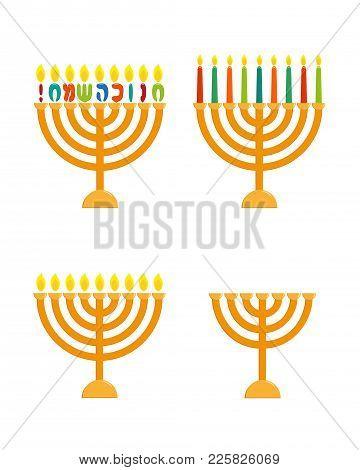Menorah Set, Hanukkah Menorah - Jewish Holiday Candlesticks For Nine Candles, Greeting Inscription H