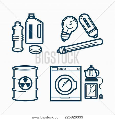 Garbage Or Wastes Trash Line Icons Set. Vector Domestic Electronic Appliances And Toxic Or Chemical