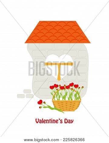 Brick House With Tiled Roof And Window Heart