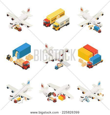 Isometric Air Logistics Elements Collection With Airplane Loading Process Cargo Transportation Truck