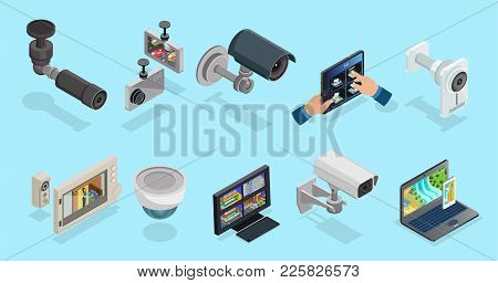 Isometric Cctv Elements Collection With Security Cameras Electronic Devices For Different Types Of M