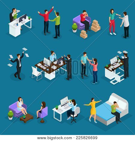Isometric People And Stress Set With Different Stressful Situations At Work In Family And Psychologi