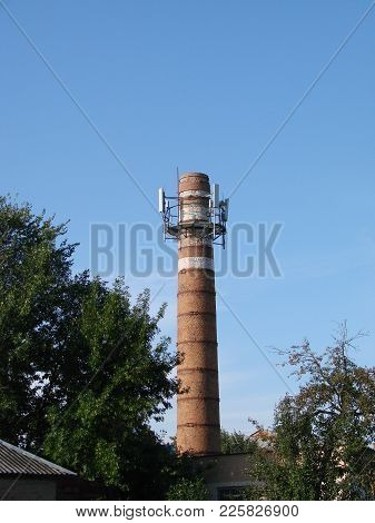 The Old Water Tower Is Used As A Cell Tower. The Concept Of Converting One Into Another, The Use Of