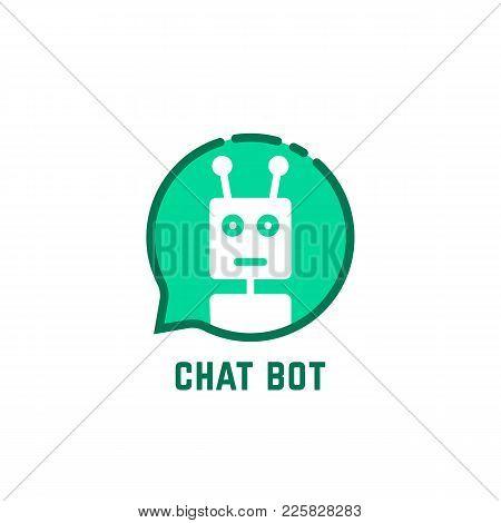 Chat Bot Logo Like Green Speech Bubble. Flat Linear Style Trend Modern Logotype Graphic Design Isola
