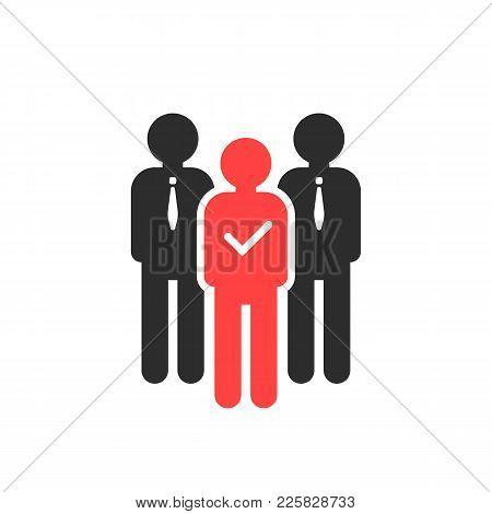 Choosing Best Employee For Job. Flat Style Trend Modern Logotype Graphic Design. Concept Of Fair Vac