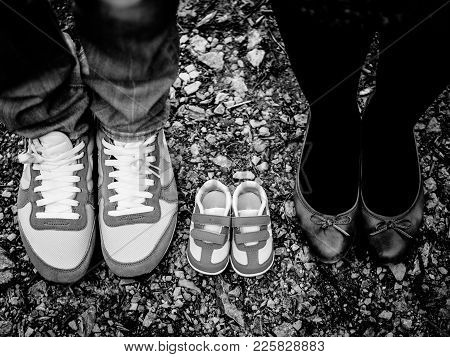 Mom Dad And Baby Shoes, Only The Shoes In Black And White