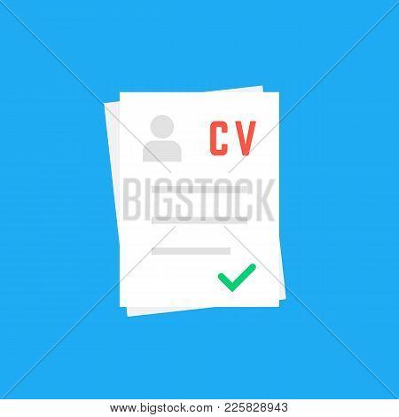 Curriculum Vitae Like Cv Icon. Flat Unusual Style Trend Modern Logotype Or Simple Graphic Art Design