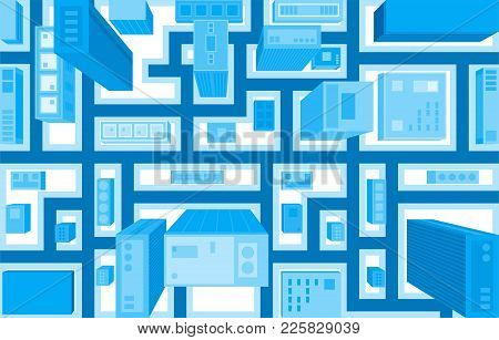 Flat Style Vector Illustration Of Aerial Birds Eye View Of City With Buildings And Houses Detailed V