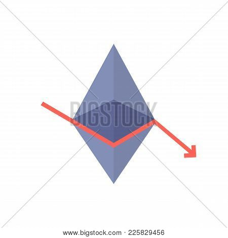 Monetary Loss With Ethereum Value Fallen. Concept Of Technology Based On Digital Money Symbol. Simpl