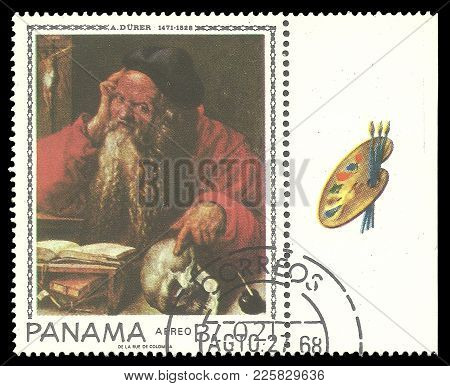 Panama - Circa 1967: Stamp Printed By Panama, Color Edition On Art, Shows Painting Saint Jerome By A