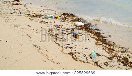 Ko Samui, Thailand - January, 25, 2018; Environmental Degrading Waste And Rubbish Carelessly Discard