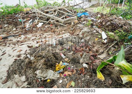 Ko Samui, Thailand - January, 25, 2018; Mixture Of Biodegradable And Non Biodegradable Environmental