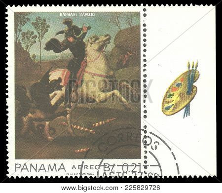 Panama - Circa 1967: Stamp Printed By Panama, Color Edition On Art, Shows Painting Of St. George And