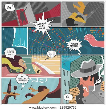 Vector Illustration The Page Comics Layout Concept