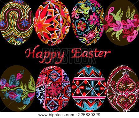 Easter Eggs With Traditional Painting (eastern European Styles Of Painting, In Particular Ukrainian