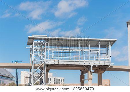 Light Rail System Station Under Construction In Las Colinas, Irving, Texas, Usa