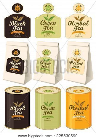 Set Of Vector Banners And Labels For Various Tea With The Image Of Tea Leaves On The Twig And Callig