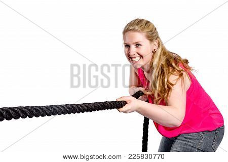 Woman With Long Hair And Short Skirt Pulls On A Rope