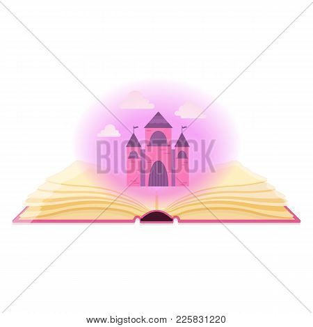 Fairy Tales, Magic, Fantasy Concept. Open Book With Magical Dust And Fairy Castle. Vector Illustrati