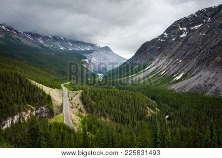 Scenic View Of Icefields Parkway And  Cirrus Mountain In Banff National Park. It Travels Through Ban