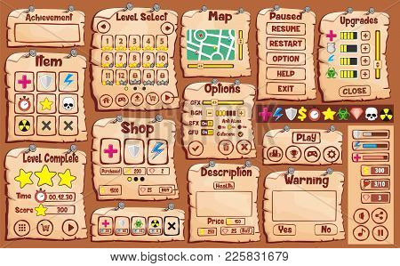 Game User Interface Design, Illustration Of A Funny  Graphic Gui Background, In Cartoon Style With B