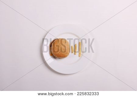 Wifi Symbol. Isolated Hamburger With Potato As Wifi Symbol.