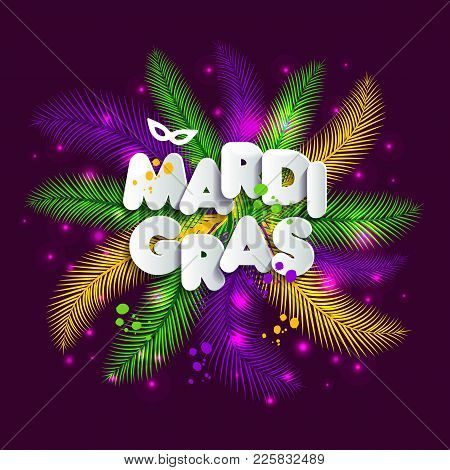 Illustration Of Carnival Mardi Gras On Multicolors Feathers, Colors Of The Mardi Gras.