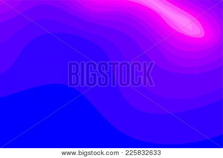 Abstract Blue And Pink Topographic Contours Lines Of Mountains. Topography Map Art Curve Line Drawin