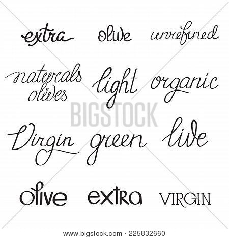 Olive Oil Typographical Words Set With Different Variants Of Calligraphic Spelling On White Backgrou